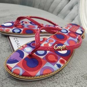 Coach Red Flip Flops Size 9 Daniela